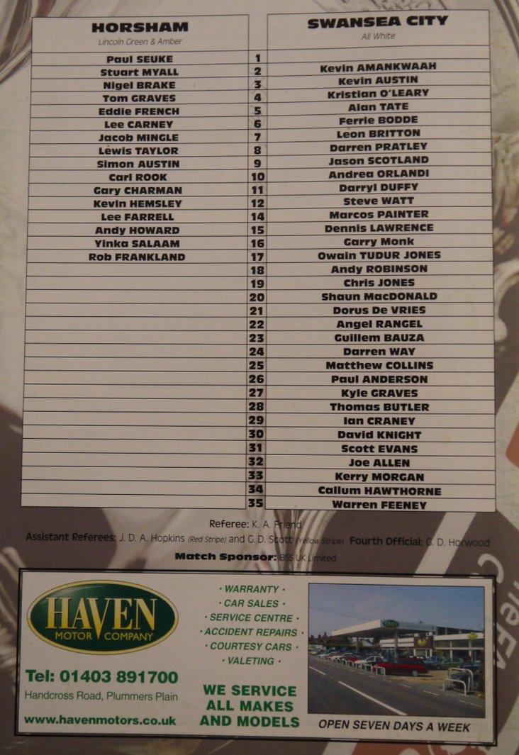 Horsham v Swansea City- note the disparity in squad sizes!