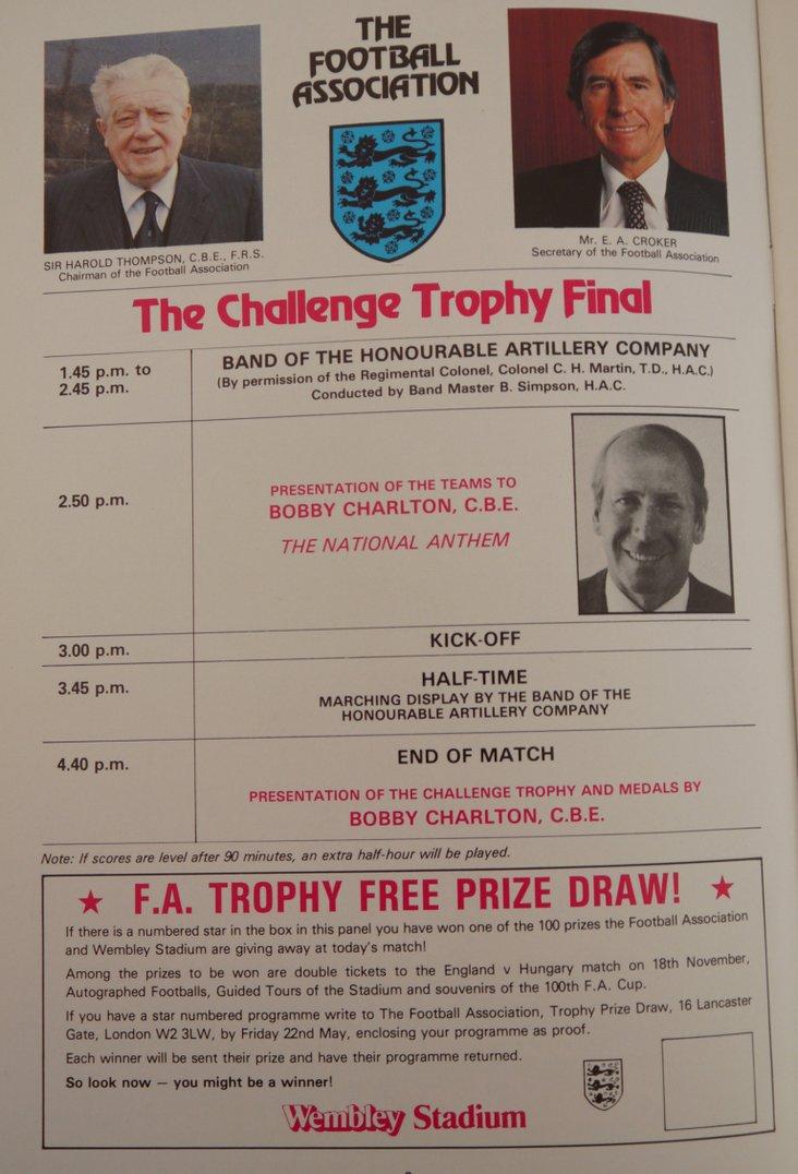 1981 Trophy Final- running order