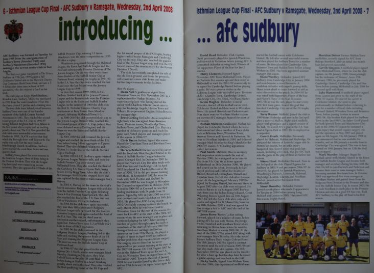 AFC Sudbury pen pictures, in very small letters!