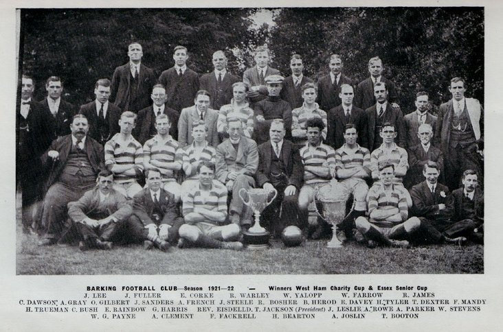 Jack as part of the Barking squad in 1921-22- image courtesy of the club