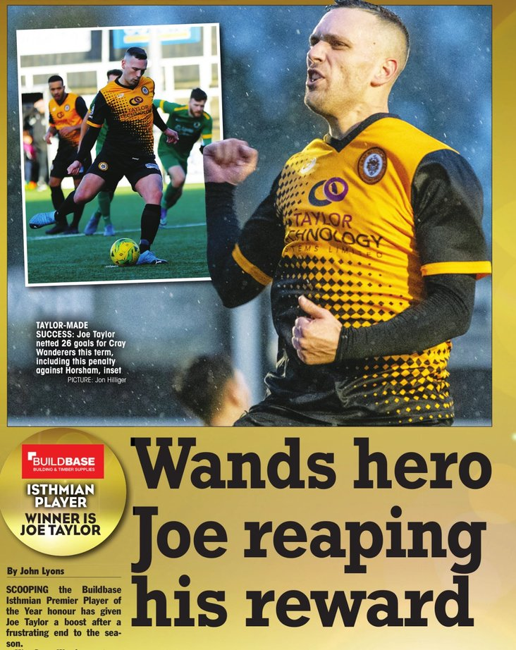 Joe Taylor honoured in the National Game Awards- image from the Non League Paper