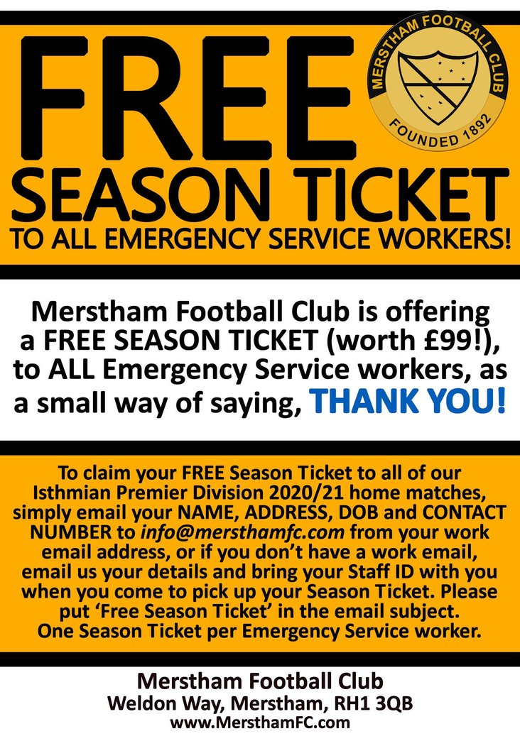 Merstham emergency services season ticket offer