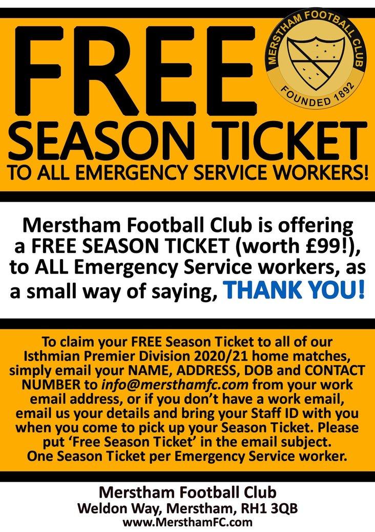 Merstham emergency services season ticket offer