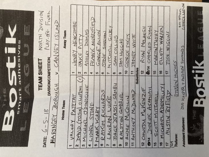 Haringey Borough v Canvey Island 060518- teamsheet