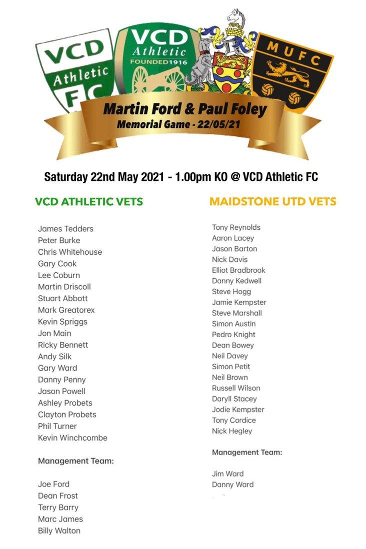VCD v Maidstone- squads