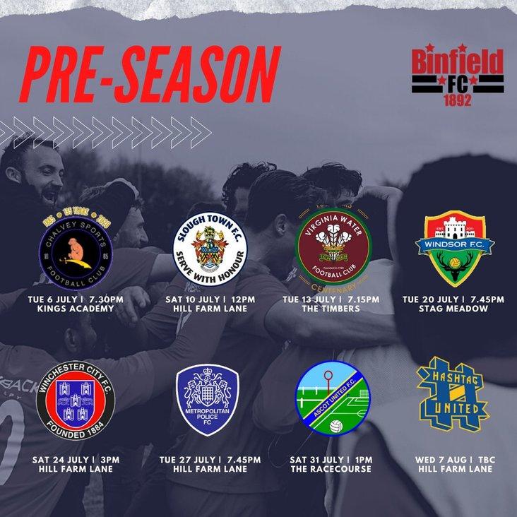 Binfield pre-season schedule