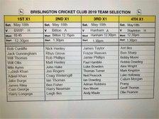 Brislington CC Team Selection Sat 18th May
