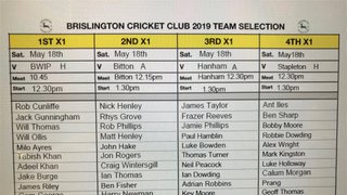Brislington CC Team Selection Sat 18th May