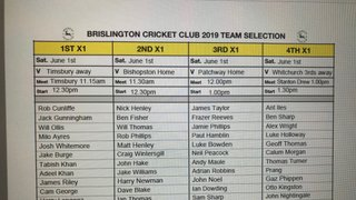 Brislington CC Team Selection Sat 1st June