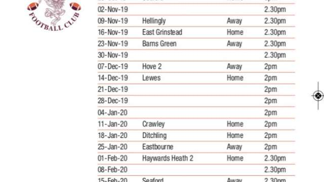 2019 20 Fixtures at a glance