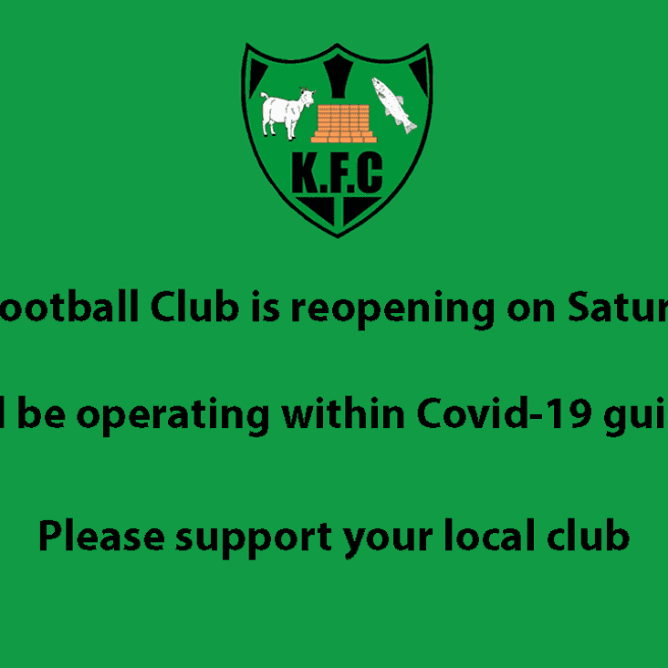 Kidlington Football Club is reopening on Saturday 4th July