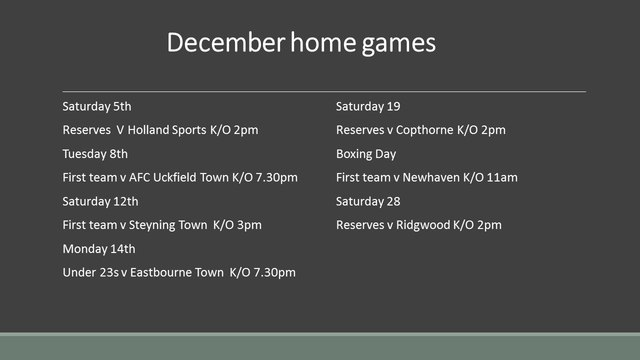 Home games in December - all you need to know