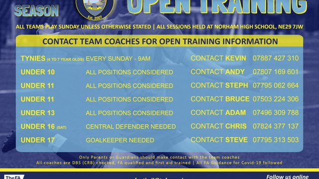 NEW PLAYERS REQUIRED