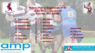 Following selected to play Biggleswade on Saturday Sept 14th