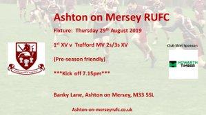 Pre-season game on Thursday 29th August