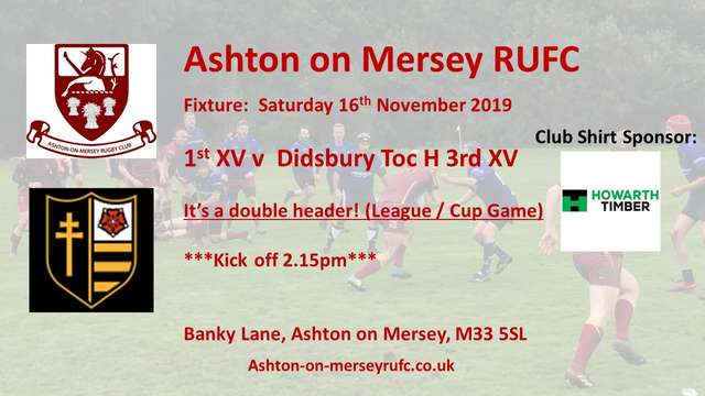 Saturday 16th November - home game / double header v Toc H 3s