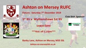 Home game - 1st XV v Wythenshawe RUFC 7th December.