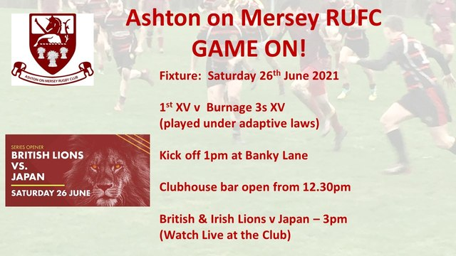 Game on this Saturday 26th June - 1s v Burnage 3s.  1pm kick off.