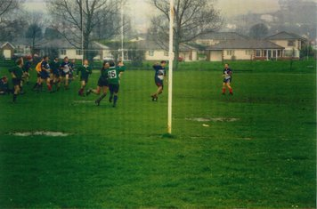 Ray Millet and John Horwood clearly in the left hand of the picture, Gwilym Lewis getting a charge down, Rob Tinopolis and either Colin Tacon or Stephen Walley on the wing.