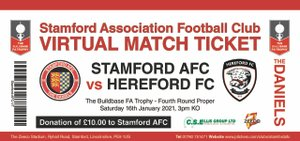 STAMFORD AFC ANNOUNCE HEREFORD VIRTUAL MATCH TICKET