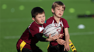 Ponteland U8's playing at half time at the Newcastle Falcons