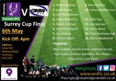 Surrey Cup Final - Vandals Seniors v Old Mid-Whitgiftians RFC