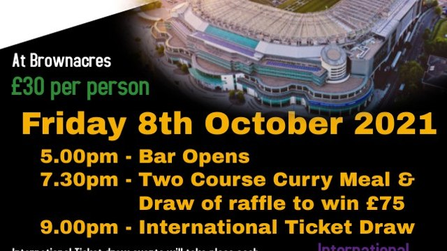 International Ticket and Curry Night Update