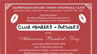PRESIDENTS DAY - SUNDAY 20TH OCTOBER 2019