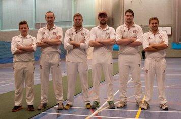 Shipston CC Indoor Team 2015. L: Harry Dube, Ben Cox, Justin Saker (c), Tom Cox (wk), Marcus Ireland & Jack Murphy