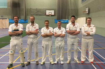 Shipston CC Indoor Team 2017. L: Tom Cox (wk), Ben Cox, Jack Murphy (c), Matthew Pratt, Marcus Ireland & Nick Hibberd