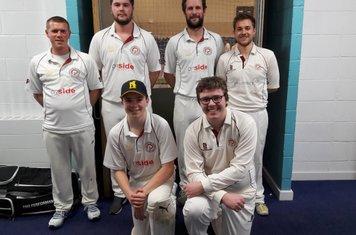 Shipston CC Indoor Team 2018. Back: Matthew Pratt, Marcus Ireland, Tom Cox (wk) & Jack Murphy (c) Front: Conor Murphy & Liam Murphy