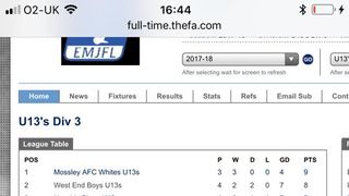 Mossley AFC Under 13s Whites score late winner to go top of the league!