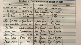 Brislington CC Team Selection May 4th.2019