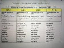 Brislington Cricket Club Team Selection Saturday August 3rd 2019