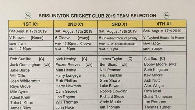 Brislington CC Team Selection Saturday August 17th. 2019
