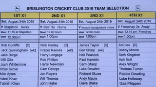 BrislingtonCC Saturday August 24th 2019