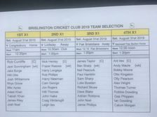 Brislington CC Team Selection Saturday August 31st 2019