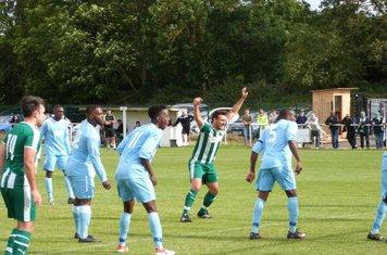 M. Mills celebrating a Sutton goal