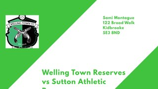 Reserves face Welling Town Reserves