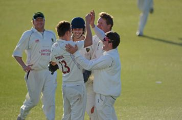 Celebrating a wicket in the National Knockout 2013 final at Durham