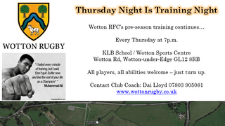 Thursday Nights Are Training Nights (7pm Wotton Sports Centre/KLB School). All players welcome.