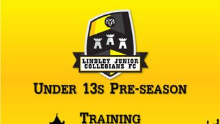 U13s Pre-season Training Arrangements
