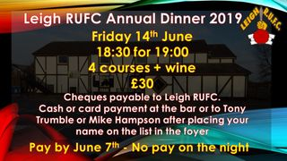 Leigh RUFC 70th Annual Dinner ~~SOLD OUT~~
