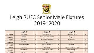 Leigh RUFC Senior Male Fixtures 2019~2020