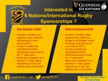 6 Nation/International rugby union sponsorship opportunities