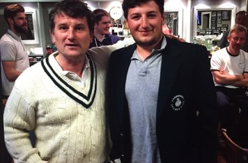 Rob Walters presented Player of the Week by Nick Gandon for his 158 v Totteridge Millhillians