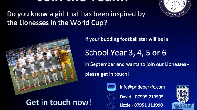 INSPIRED BY THE LIONESSES? WE'RE LOOKING FOR PLAYERS FOR OUR GIRLS TEAMS!