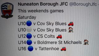 Boro Juniors Weekend Fixtures