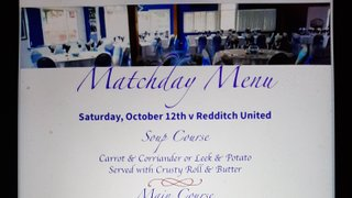 Hospitality - Boro v Redditch Utd - Three Course Meal