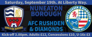 NEXT GAME - BORO v AFC Rushden & Diamonds